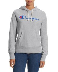 Champion - Gray Reverse Weave Pullover Hoodie - Lyst