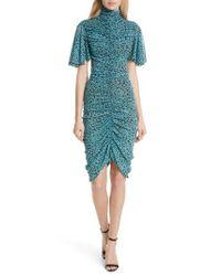 Diane von Furstenberg - Green Floral Ruched Flutter Sleeve High Neck Dress - Lyst
