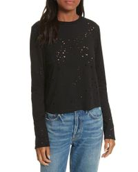 Twenty - Black Waverly Perforated Crop Tee - Lyst