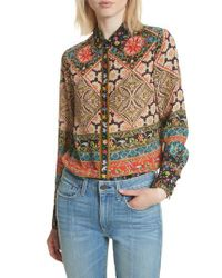 Alice + Olivia - Multicolor Patchwork Print Silk Shirt - Lyst