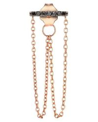 Kismet by Milka - Pink 'lumiere' Diamond Double Chain Drop Earring - Lyst