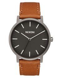 Nixon - Multicolor The Porter Leather Strap Watch for Men - Lyst