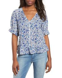Lucky Brand - Blue Lucky Floral Print Top - Lyst