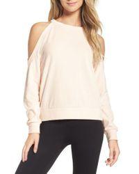 Zella | Pink Cara Velour Cold Shoulder Top | Lyst
