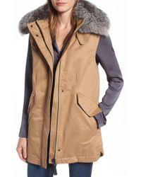 10 Crosby Derek Lam | Natural Genuine Fox Fur Trim Long Vest | Lyst