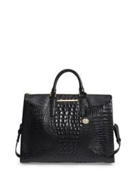 Brahmin | Black Melbourne Croc Embossed Leather Business Tote | Lyst