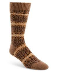 Pantherella - Brown Fair Isle Cashmere Socks for Men - Lyst