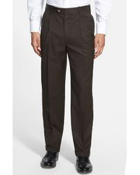 JB Britches | Brown Pleated Super 100s Worsted Wool Trousers for Men | Lyst