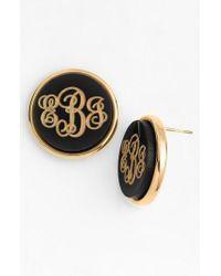Moon & Lola - Gray 'vineyard' Personalized Monogram Stud Earrings - Lyst