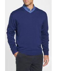 Cutter & Buck - Blue 'douglas' V-neck Sweater for Men - Lyst