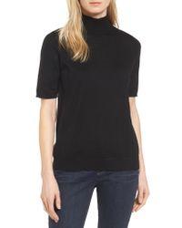 Eileen Fisher - Black Merino Wool Mock Neck Sweater - Lyst