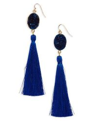 Panacea | Blue Drusy Tassel Earrings | Lyst