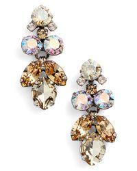 Sorrelli - Metallic Crystal Lotus Flower Drop Earrings - Lyst