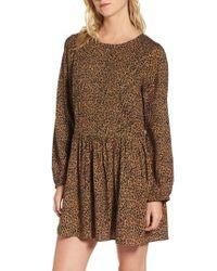 Hinge | Brown Pintuck Minidress | Lyst