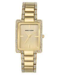 Anne Klein - Metallic Crystal Bracelet Watch - Lyst