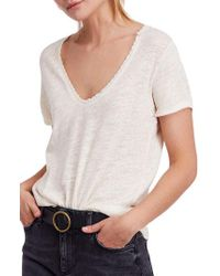 Free People - White We The Free By Saturday Lace Trim Linen Blend Tee - Lyst