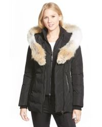 Mackage - Black Hooded Down Parka With Inset Bib & Genuine Coyote Fur Trim - Lyst