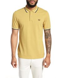Fred Perry - Yellow Extra Trim Fit Twin Tipped Pique Polo for Men - Lyst