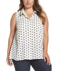 Vince Camuto - White Polka Dot Blouse - Lyst