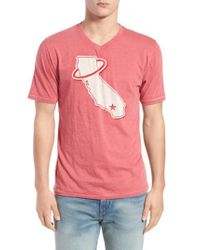 Red Jacket - Red 'california Angels' Graphic V-neck T-shirt for Men - Lyst