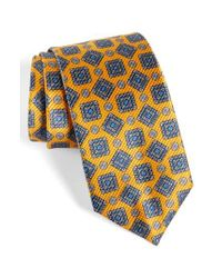 David Donahue | Metallic Medallion Silk Tie for Men | Lyst