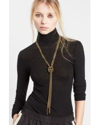 Lanvin - Metallic Loose Knot Brass Necklace - Lyst