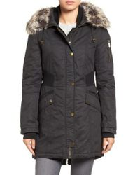French Connection   Black Mixed Media Parka With Faux Fur Trim Hood   Lyst