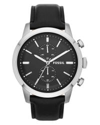 Fossil | Black 'townsman' Chronograph Leather Strap Watch for Men | Lyst