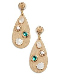 Gas Bijoux - White Leather Drop Earrings - Lyst