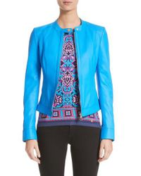 Versace - Blue Nappa Leather Jacket - Lyst