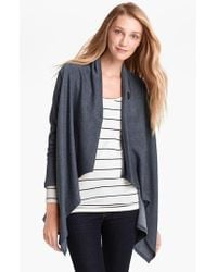 Bobeau | Blue One-button Fleece Wrap Cardigan | Lyst