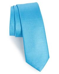Calibrate   Blue Saffron Solid Silk Skinny Tie for Men   Lyst