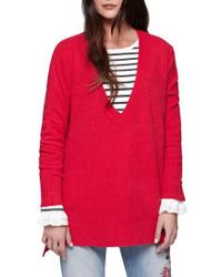 Sanctuary | Red Santuary Delancey V-neck Sweater | Lyst