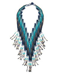 Panacea - Blue Seed Bead Statement Necklace - Lyst