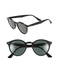 Ray-Ban - Black Highstreet 49mm Round Sunglasses - Lyst