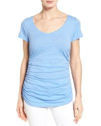 Caslon | Blue Caslon Shirred V-neck Tee | Lyst