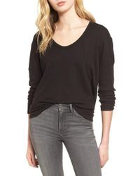 Splendid - Black Thermal Tee - Lyst