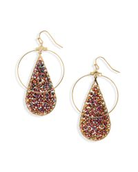 Panacea - Pink Crystal Teardrop Circle Earrings - Lyst