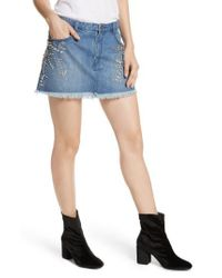 Free People | Blue Shine Bright Shine Far Cutoff Denim Miniskirt | Lyst
