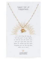 Dogeared - Metallic Heart Full Of Happiness Puffy Pendant Necklace - Lyst