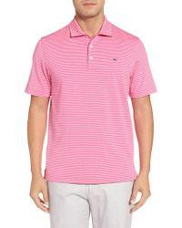 Vineyard Vines   Pink Heathered Wilson Stripe Polo for Men   Lyst
