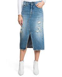 PRPS - Blue Split Front Distressed Denim Midi Skirt - Lyst
