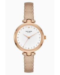 Kate Spade - Metallic Crystal Accent Scallop Holland Leather Strap Watch - Lyst