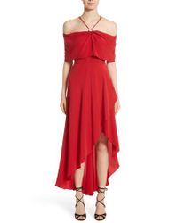 Yigal Azrouël - Red Cold Shoulder Silk Crepe Dress - Lyst