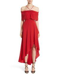 Yigal Azrouël - Red Cold Shoulder Dress - Lyst