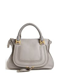 Chloé | Gray Large Marcie Leather Satchel | Lyst