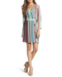 Charles Henry - Blue Wrap Minidress - Lyst