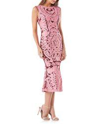 JS Collections - Pink Soutache Midi Dress - Lyst