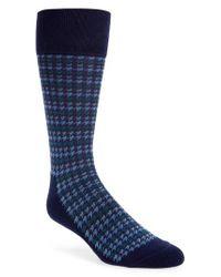 Nordstrom - Blue Houndstooth Stripe Socks for Men - Lyst
