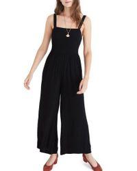 Madewell   Black Smocked Crop Jumpsuit   Lyst